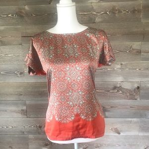 The Limited Teal and Orange Cap Sleeve Top